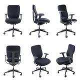 Collage della sedia nera dell'ufficio isolata su bianco Fotografia Stock Libera da Diritti