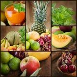 Collage della spremuta e della frutta fresca Fotografia Stock