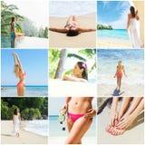 Collage della stazione termale e delle immagini di viaggio con le giovani donne Immagine Stock