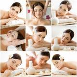 Collage della stazione termale: tipi differenti di massaggi Immagini Stock Libere da Diritti