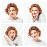 Collage della stessa donna adulta che fa le espressioni differenti Colpo dello studio fotografia stock libera da diritti