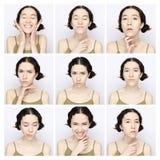 Collage della stessa donna che fa le espressioni differenti Fotografia Stock Libera da Diritti