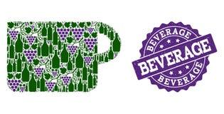 Collage della tazza delle bottiglie di vino e dell'uva e del bollo di lerciume royalty illustrazione gratis