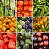 Collage della verdura e della frutta Fotografia Stock