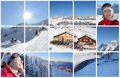 Collage delle alpi di inverno Fotografia Stock