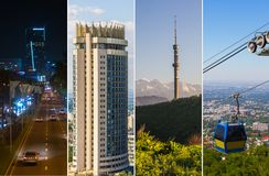 Collage delle attrazioni, delle costruzioni e delle vie del ` s della città di Almaty Immagini Stock
