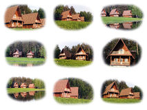 Collage delle case di legno Immagini Stock Libere da Diritti