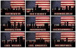 Collage delle città famose di U.S.A. dalla D alla m. illustrazione vettoriale