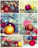 Collage delle decorazioni di Natale Insieme dell'ornamento del nuovo anno Fotografia Stock Libera da Diritti
