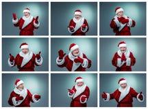 Collage delle emozioni differenti di Santa Claus Fotografia Stock