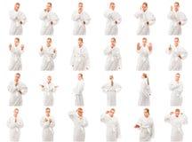 Collage delle espressioni facciali differenti Fotografie Stock Libere da Diritti