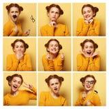 Collage delle espressioni facciali differenti della giovane donna Fotografie Stock