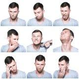 Collage delle espressioni negative del fronte Fotografia Stock Libera da Diritti