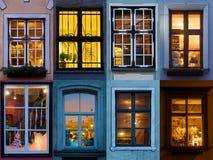 Collage delle finestre accese da Riga Fotografie Stock Libere da Diritti