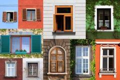 Collage delle finestre variopinte Fotografia Stock