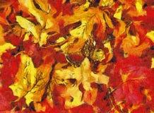 Collage delle foglie di autunno nei toni arancio e rossi Immagini Stock