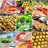 Collage delle foto dal mercato Fotografie Stock