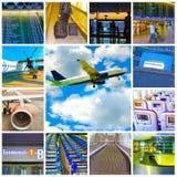 Collage delle foto dell'aeroplano e dell'aeroporto Immagine Stock
