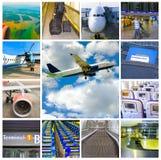 Collage delle foto dell'aeroplano e dell'aeroporto Fotografie Stock