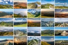 Collage delle foto della natura sul tema delle MONTAGNE Immagine Stock Libera da Diritti