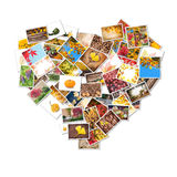 Collage delle foto di autunno sotto forma di cuore Fotografia Stock