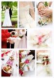 Collage delle foto di cerimonia nuziale Fotografia Stock