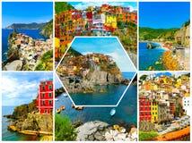 Collage delle foto di Cinque Terre in Italia Immagine Stock