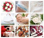 Collage delle foto di nozze Immagini Stock