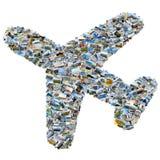 Collage delle foto di viaggio - aeroplano della foto del mosaico Immagini Stock