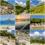 Collage delle foto di viaggio dall'Albania Fotografia Stock