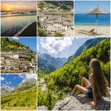 Collage delle foto di viaggio dall'Albania Fotografie Stock Libere da Diritti