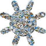 Collage delle foto di viaggio - sole della foto del mosaico Immagine Stock