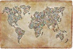 Collage delle foto sotto forma di una mappa di mondo Immagine Stock