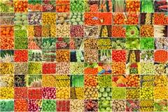Collage delle fotografie delle verdure e della frutta Fotografia Stock Libera da Diritti