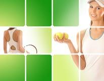 Collage delle immagini con un giovane giocatore di tennis Immagine Stock