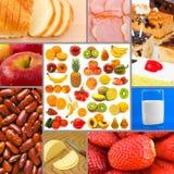 Collage delle immagini dell'alimento Fotografia Stock