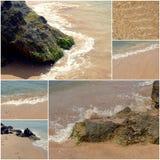 Collage delle immagini della spiaggia del mare Insieme delle immagini di festa di vacanze estive Fotografia Stock Libera da Diritti