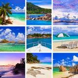 Collage delle immagini della spiaggia di estate Immagini Stock