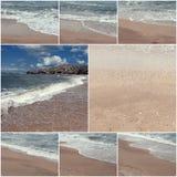 Collage delle immagini della spuma del mare summertime Natura selvaggia Immagini tonificate con copyspace Fotografie Stock