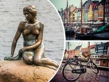 Collage delle immagini di Copenhaghen (Danimarca) - fondo di viaggio (mio Fotografia Stock