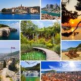 Collage delle immagini di corsa del Croatia Fotografia Stock