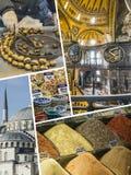 Collage delle immagini di Costantinopoli (Turchia) - fondo di viaggio (il mio pH Fotografie Stock