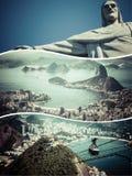 Collage delle immagini di Rio de Janeiro (Brasile) - fondo di viaggio (m. Fotografia Stock