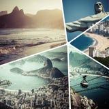Collage delle immagini di Rio de Janeiro Brazil - fondo m. di viaggio Immagine Stock
