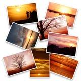 Collage delle immagini di tramonto nel fondo bianco Fotografia Stock