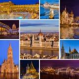 Collage delle immagini di viaggio di Budapest Ungheria le mie foto Immagini Stock Libere da Diritti