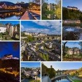 Collage delle immagini di viaggio del Lussemburgo le mie foto Immagine Stock