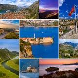 Collage delle immagini di viaggio del Montenegro (le mie foto) Immagini Stock