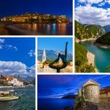 Collage delle immagini di viaggio del Montenegro le mie foto Fotografie Stock