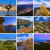 Collage delle immagini di viaggio del Montenegro le mie foto Immagini Stock